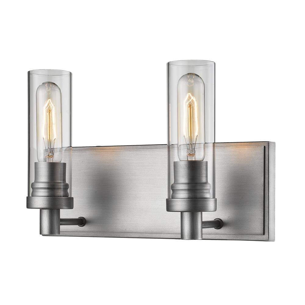 Filament Design Logan 2-Light Old Silver Bath Light with Clear Glass