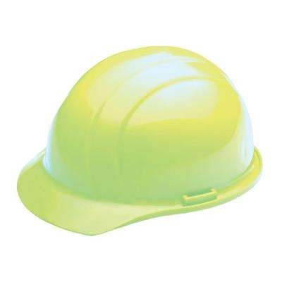 4 Point Plastic Suspension Mega Ratchet Cap Hard Hat in Hi Viz Lime