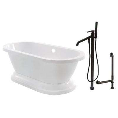 Pedestal 5.6 ft. Acrylic Flatbottom Bathtub in White and Floor-Mount Faucet Combo in Oil Rubbed Bronze