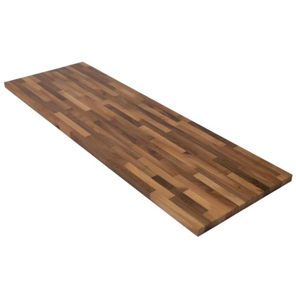 Unfinished European Walnut 6 ft. L x 25 in. D x 1.5 in. T Butcher Block Countertop