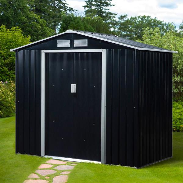 4 ft x 7 ft x 6 ft Metal Outdoor Backyard Shed with 4 Vents & 2 Sliding Doors, Grey