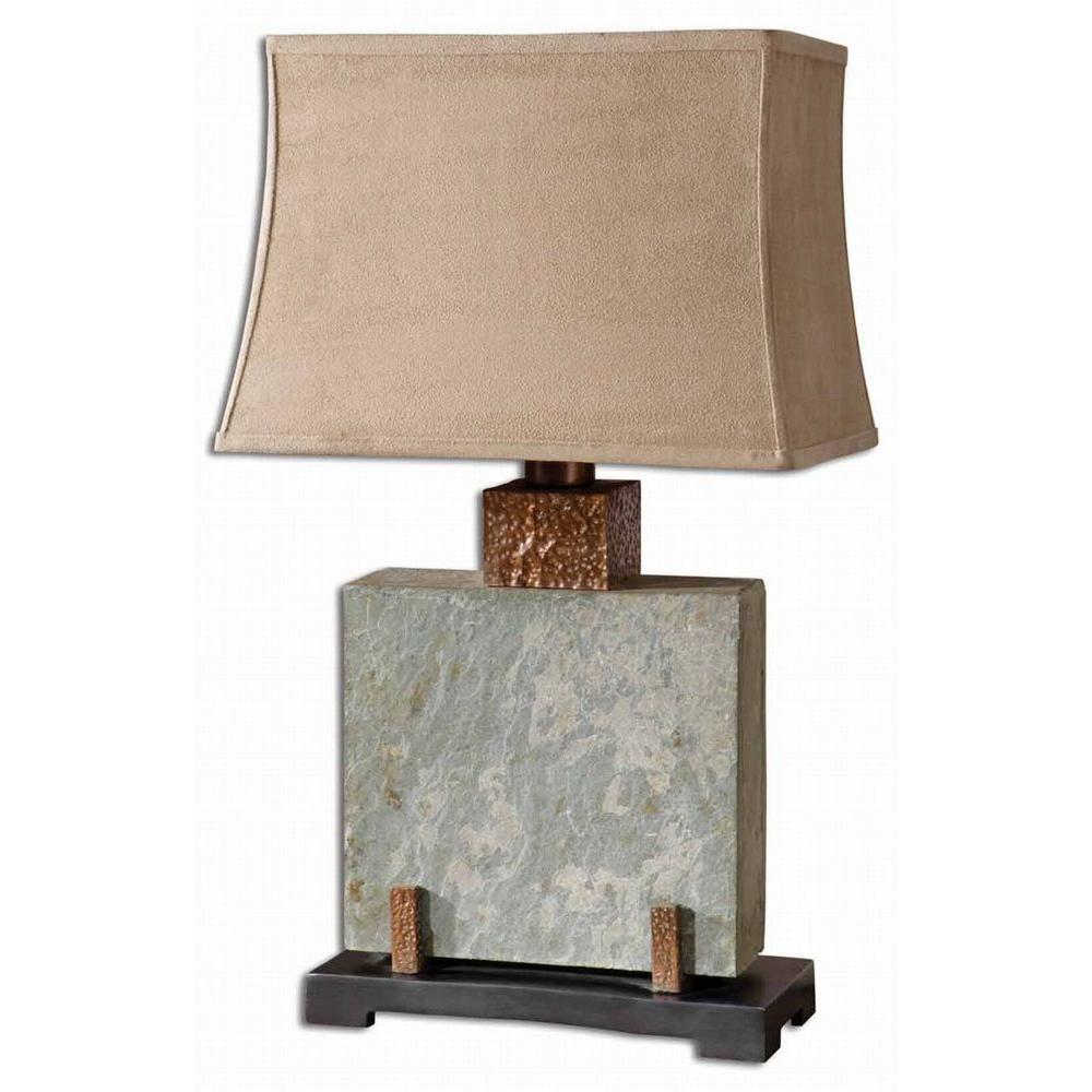 29 in. Copper Slate Square Table Lamp