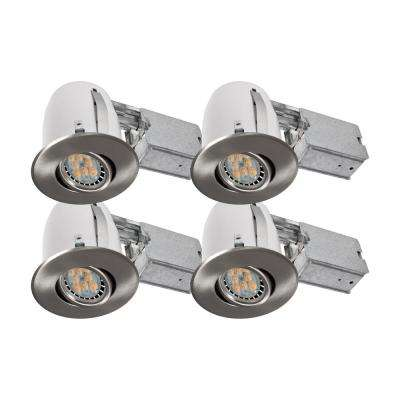 Brushed Chrome Recessed LED Lighting Kit With GU10 Bulb Included (4
