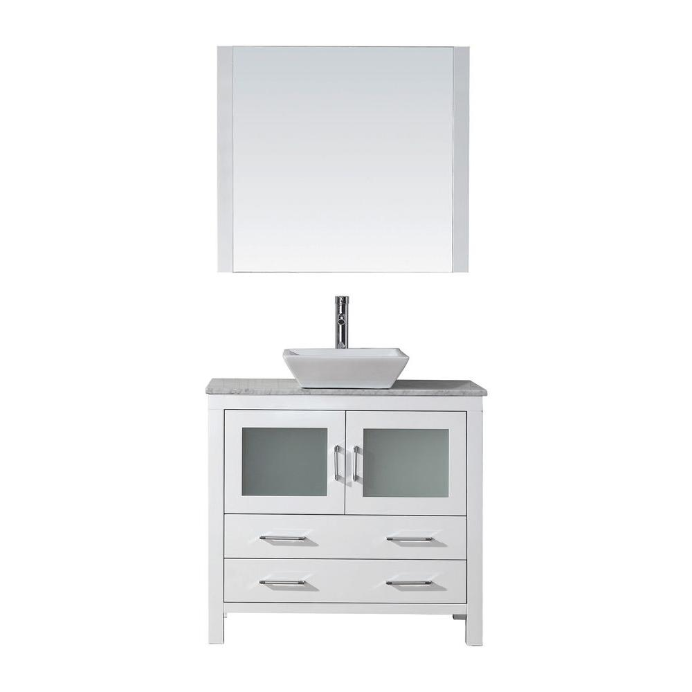 Virtu USA Dior 31 in. W Bath Vanity in White with Marble Vanity Top in White with Square Basin and Mirror and Faucet