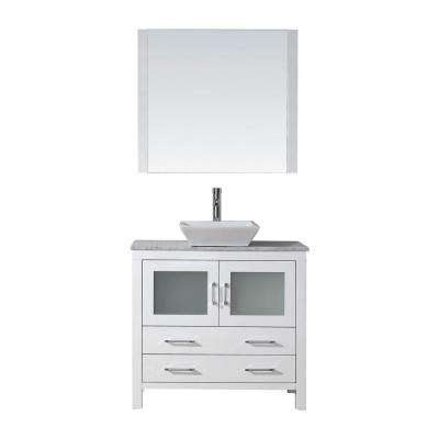 Dior 31 in. W Bath Vanity in White with Marble Vanity Top in White with Square Basin and Mirror and Faucet