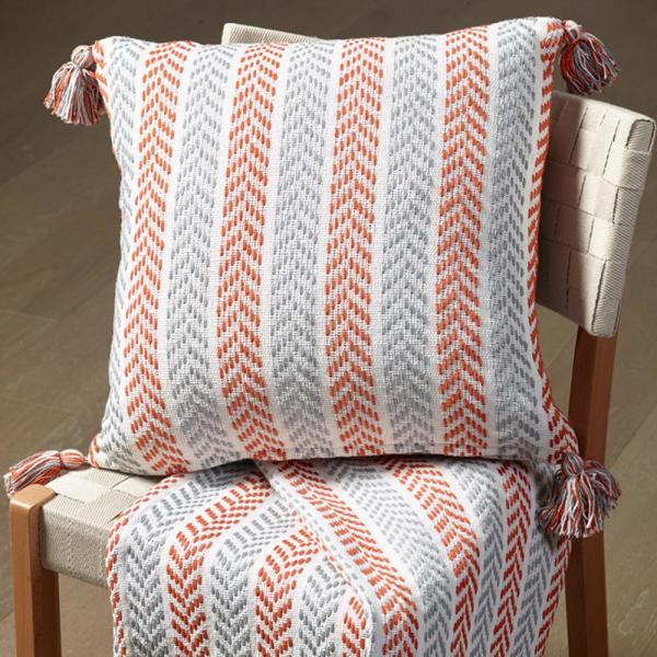 Lr Resources Orange And Gray 18 In X 18 In Throw Decorative Pillow
