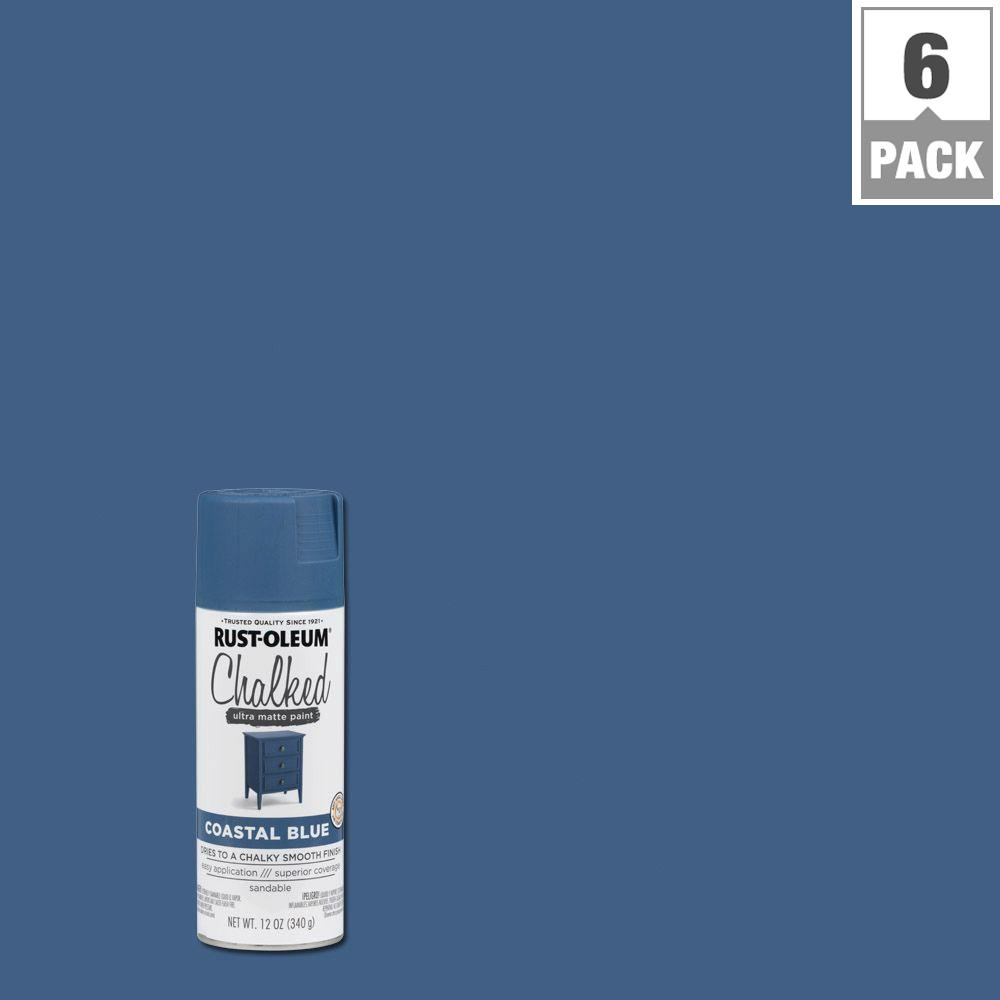 12 oz. Coastal Blue Chalked Spray Paint (6-Pack)