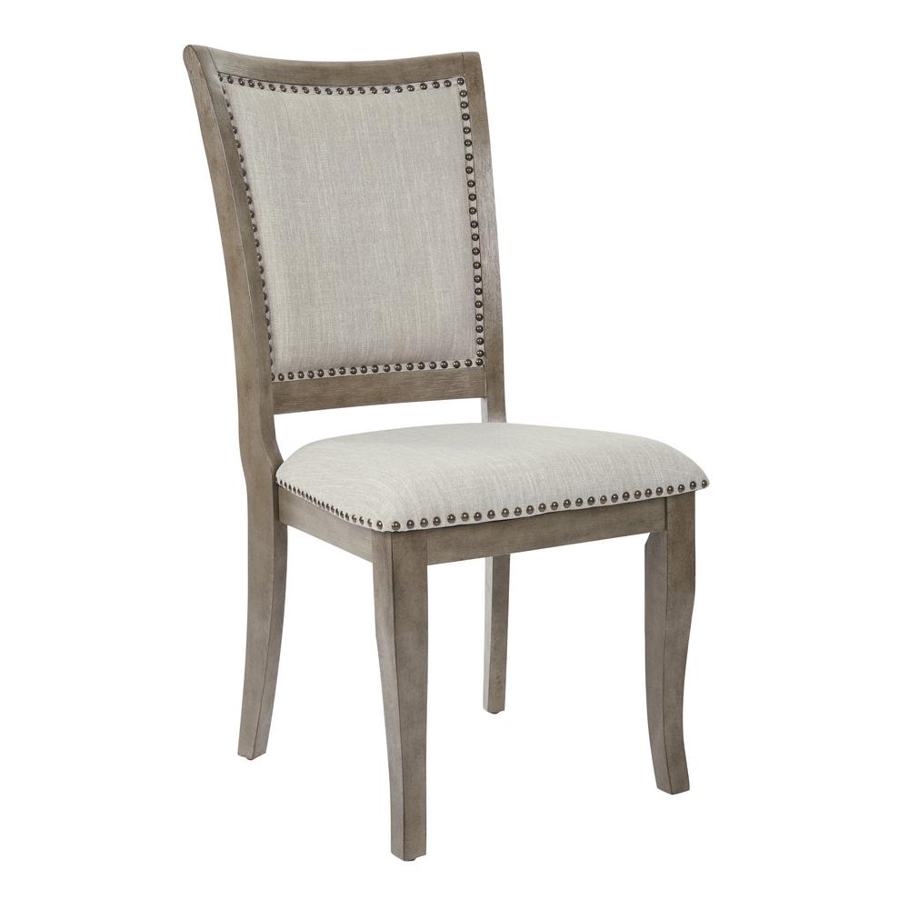 OSP Home Furnishings Alba Antique Grey Dining Chair (Set of 2), Burnt Brown Enhance the look of your dining room with the addition of the Alba Dining Chair from OSP Home Furnishings. Crafted with a solid wood frame. Each dining chair features a plush upholstered seat and stylish nail head accents. Color: Burnt Brown.