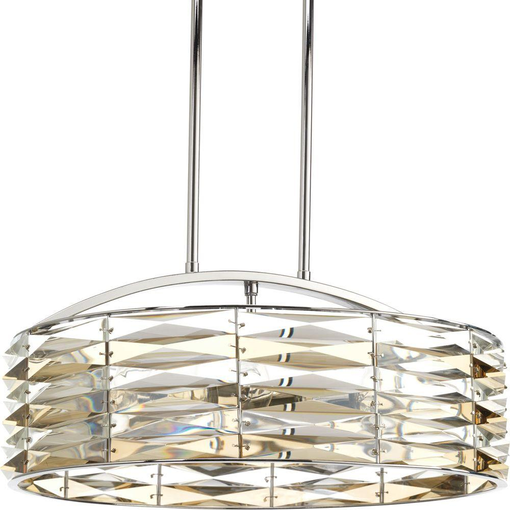 Progress Lighting The Pointe Collection 6-Light Polished Chrome Chandelier with Clear and Champagne Glass