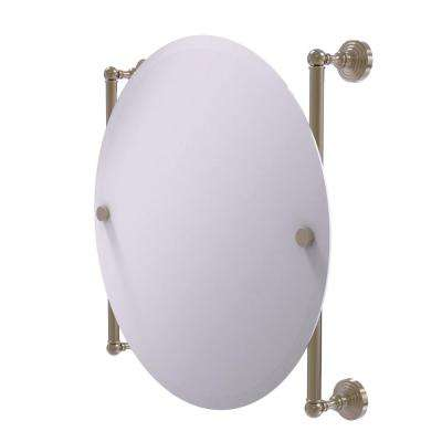 Waverly Place Collection Round Frameless Rail Mounted Mirror in Antique Pewter
