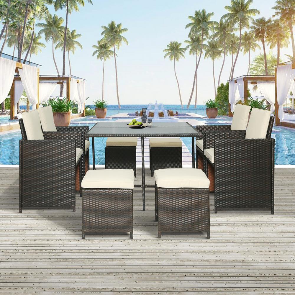 Harper & Bright Designs Brown 9-Piece Wicker Outdoor Dining Set with Beige Cushions
