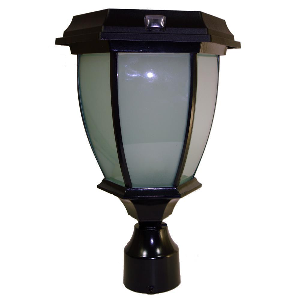 Black LED Outdoor Flicker Flame 3 in. Post Lantern