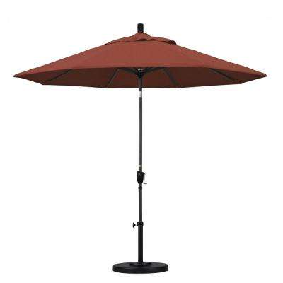 9 ft. Aluminum Push Tilt Patio Umbrella in Terracotta Olefin