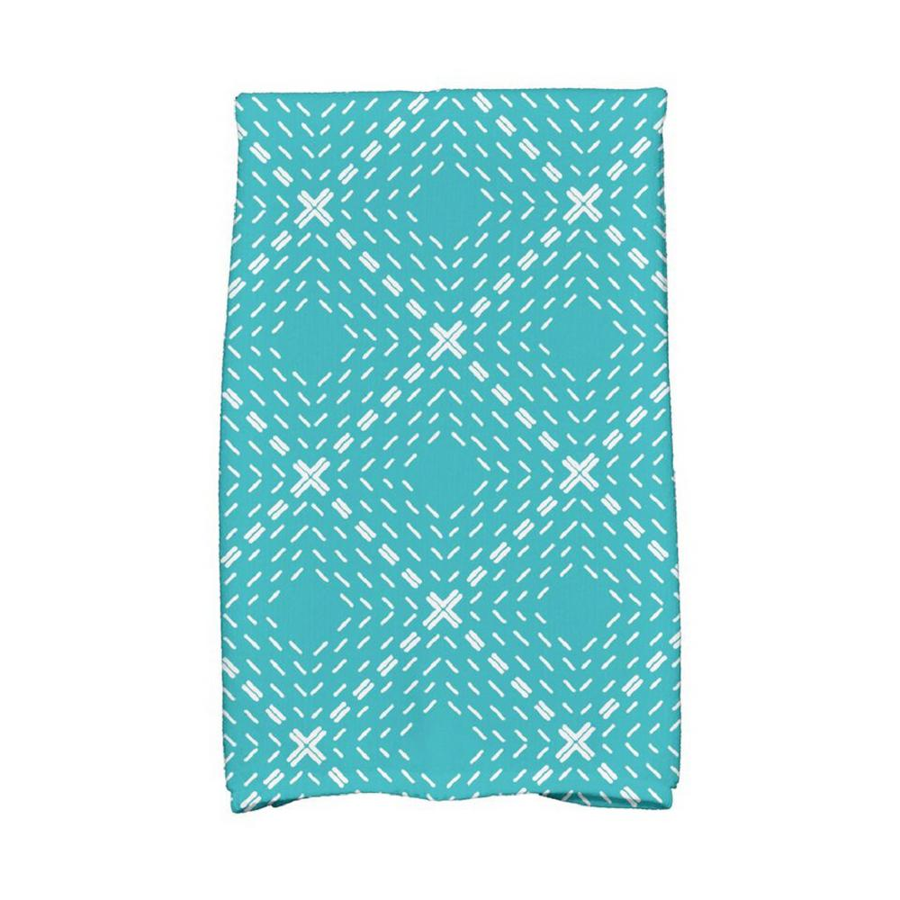 e by design 16 in x 25 in aqua dots and dashes geometric print - Kitchen Towels New Design