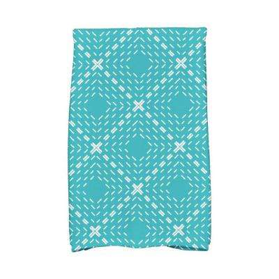 16 in. x 25 in. Aqua Dots and Dashes Geometric Print Kitchen Towels