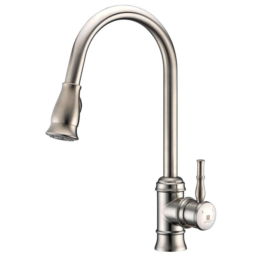 ANZZI Sails Series Single Handle Pull Down Sprayer Kitchen Faucet In Brushed  Nickel