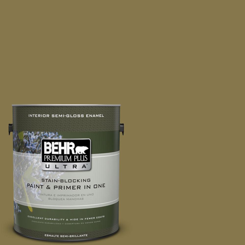 1-gal. #M330-7 Green Tea Leaf Semi-Gloss Enamel Interior Paint