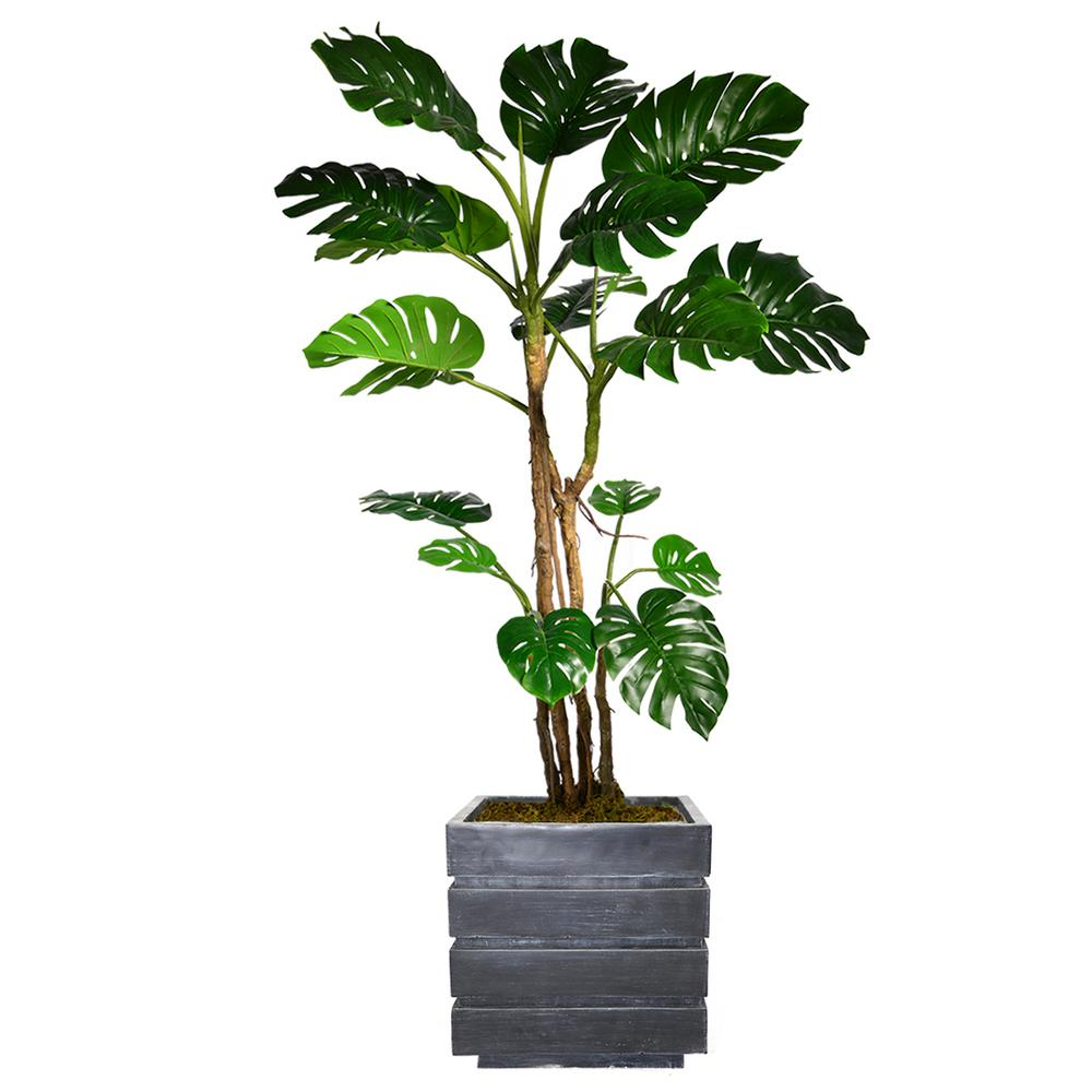 78 in. Tall Monstera Artificial Faux Home Decor with Burlap Kit and Fiberstone Planter