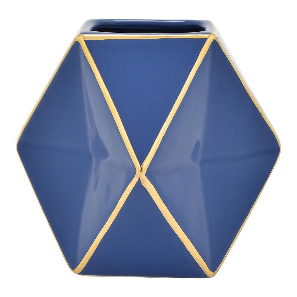 5 in. Blue and Gold Porcelain Vase