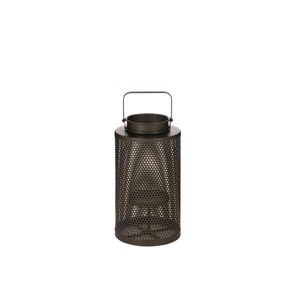 18.5 in. H Brown Industrial Cutout Metal Lantern