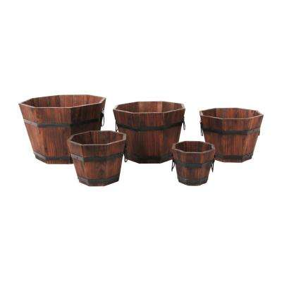 Barrel Style 15 in. W x 15 in. D x 9 in. H Octagonal Wooden Brown Planters (5-Pack)