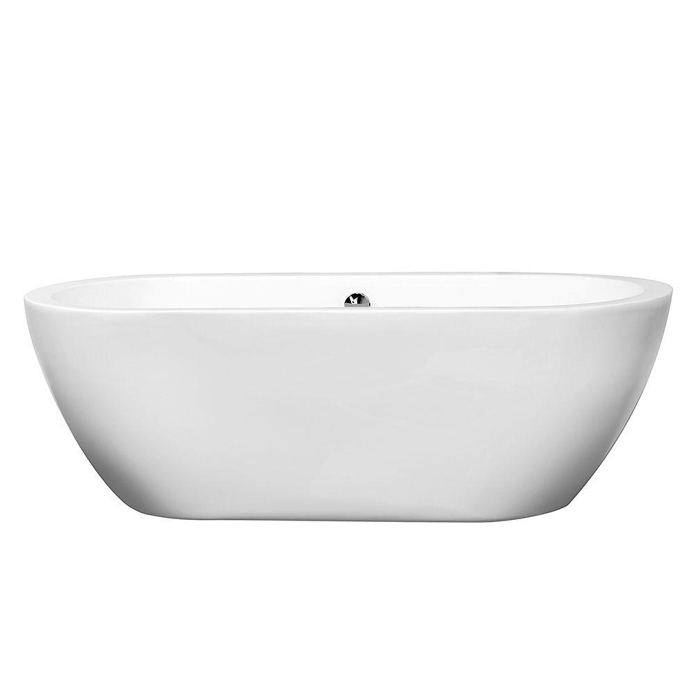 Wyndham Collection Soho 5.67 ft. Center Drain Soaking Tub in White