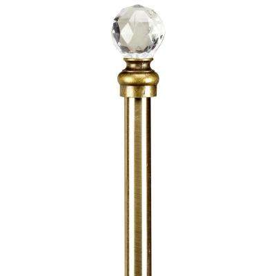 Crystal Ball 48 to 86 in. Single Curtain Rod in Antique Brass
