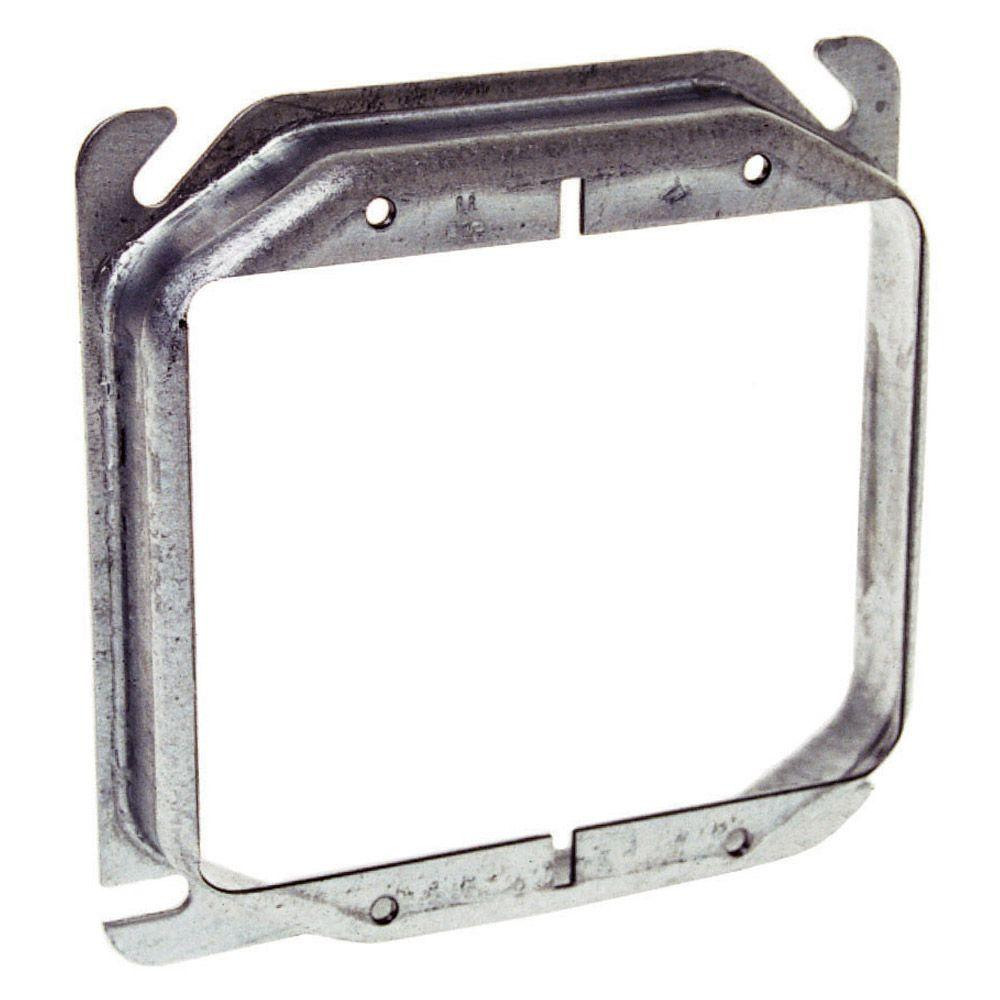 4 in. Square 2-Device Mud Ring, Raised 5/8 in. (25-Pack)