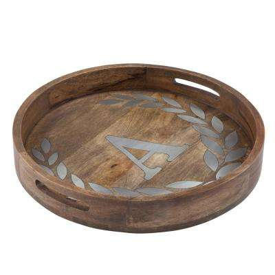 """20 in. D Mango Wood Round Tray """"A"""""""