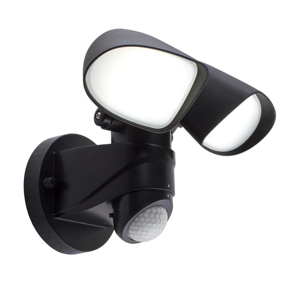 Porch Light With Camera Costco: BAZZ 36 Ft. And 180-Degree Black Hardwired Motion Sensing
