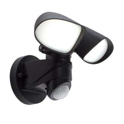 36 ft. and 180-Degree Black Hardwired Motion Sensing Outdoor Integrated LED Security Spot Light