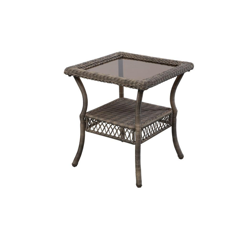 Hampton Bay Spring Haven Grey Wicker Outdoor Patio Side
