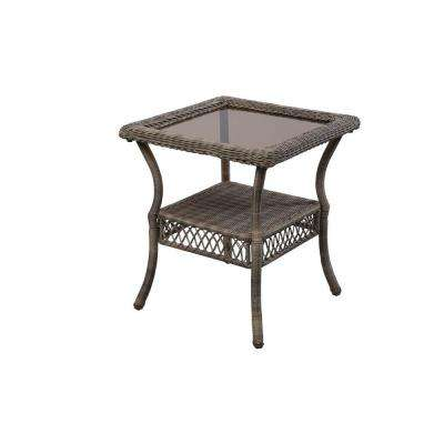 Spring Haven Grey Wicker Outdoor Patio Side Table