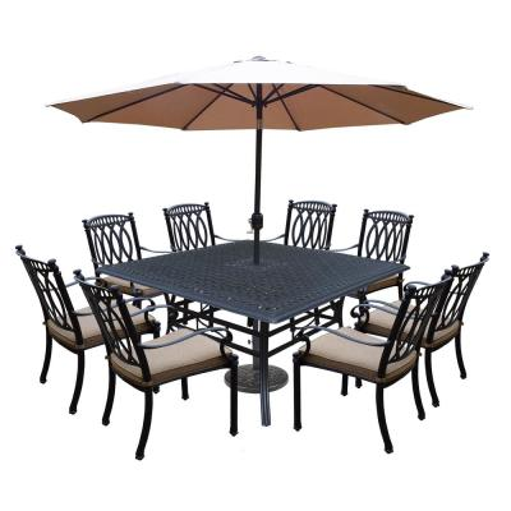 Morocco Aluminum 11-Piece Outdoor Dining Set with Sunbrella Beige Cushions