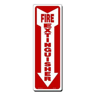 4 in. x 12 in. Fire Extinguisher with Arrow Down Sign Printed on More Durable, Thicker, Longer Lasting Styrene Plastic