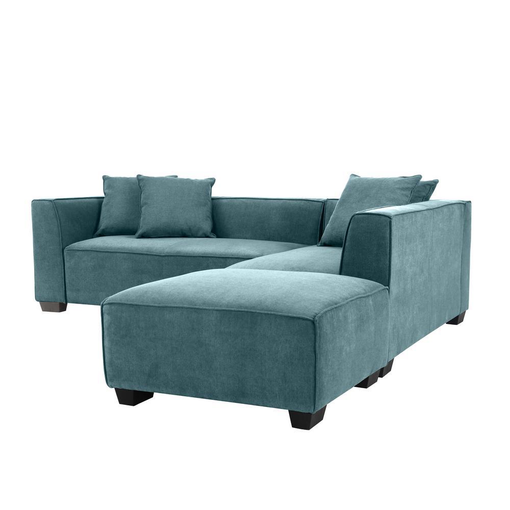 Handy Living Phoenix Caribbean Blue Linen Sectional Sofa ...
