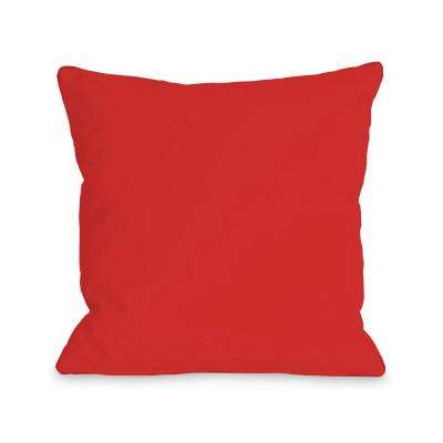 Solid Rocket Red 16 in. x 16 in. Decorative Pillow