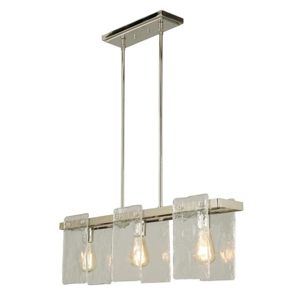 Wolter 3-Light Polished Nickel Linear Kitchen Island Pendant with Clear Sculpted Glass Shades