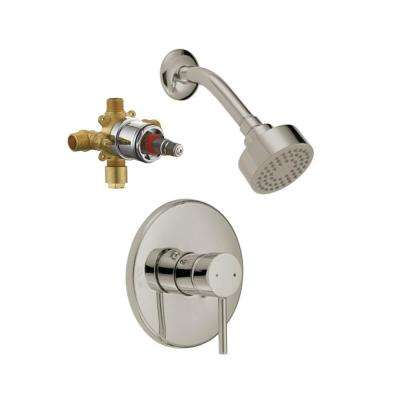 Eastport Single Handle 1-Spray Shower Faucet Trim Kit in Satin Nickel (Valve Included)