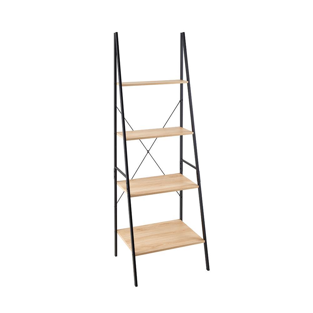 Mixed Material Storage Furniture 23.6 in W x 20 in. D Natural Ladder Bookshelf with Decorative Shelf