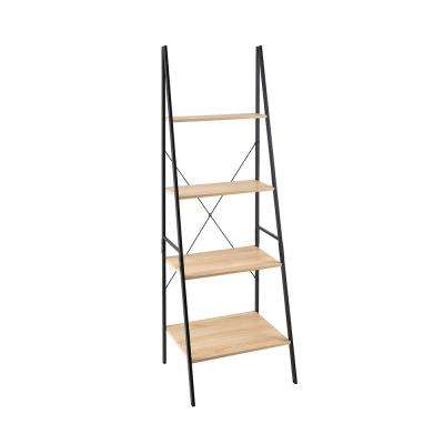 23.6 in W x 20 in. D Natural Ladder Bookshelf with Decorative Shelf