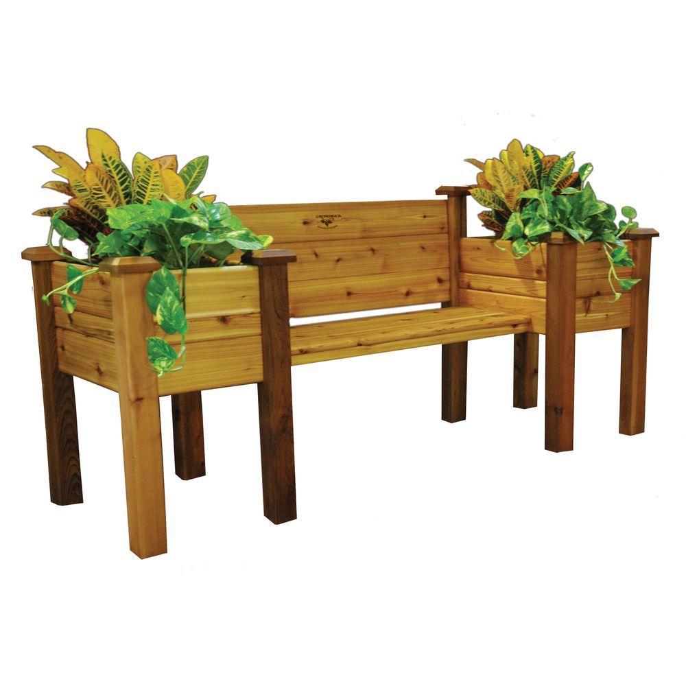 H Safe Cedar Bench Planter