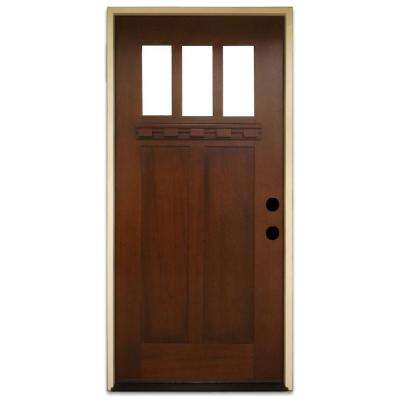 36 in. x 80 in. Shaker 3 Lite Stained Mahogany Wood Prehung Front Door