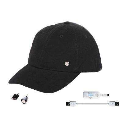 Cell Phone Charging Hat with Attachable LED Lights, Black