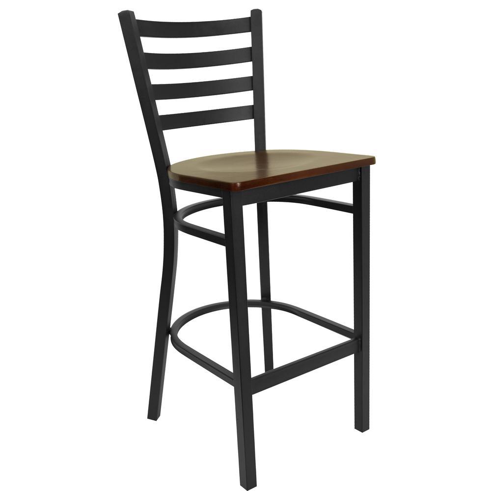42.25 in. Mahogany Wood Seat/Black Metal Frame Bar Stool