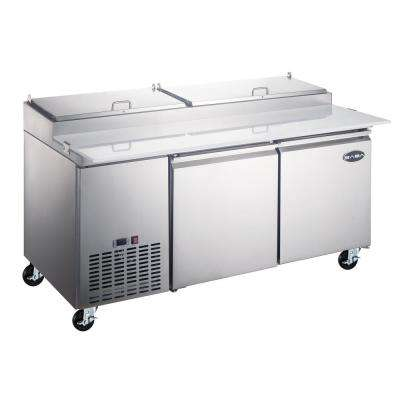 67.25 in. W 16 cu. ft. Commercial Pizza Food Prep Table Refrigerator Cooler in Stainless Steel