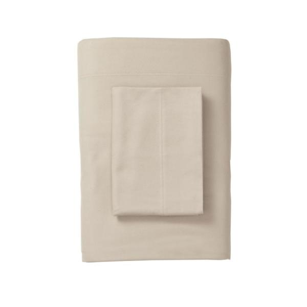 The Company Store Velvet Flannel Feather Tan Queen Fitted Sheet EU29-Q-FTHR-TAN