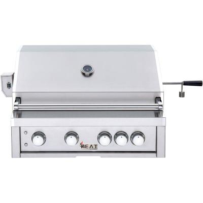 32 in. 4-Burner Built-In Natural Gas Grill in Stainless Steel with 1 Infrared Burner