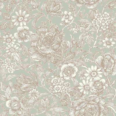 56.4 sq. ft. Hedgerow Moss Floral Trails Wallpaper