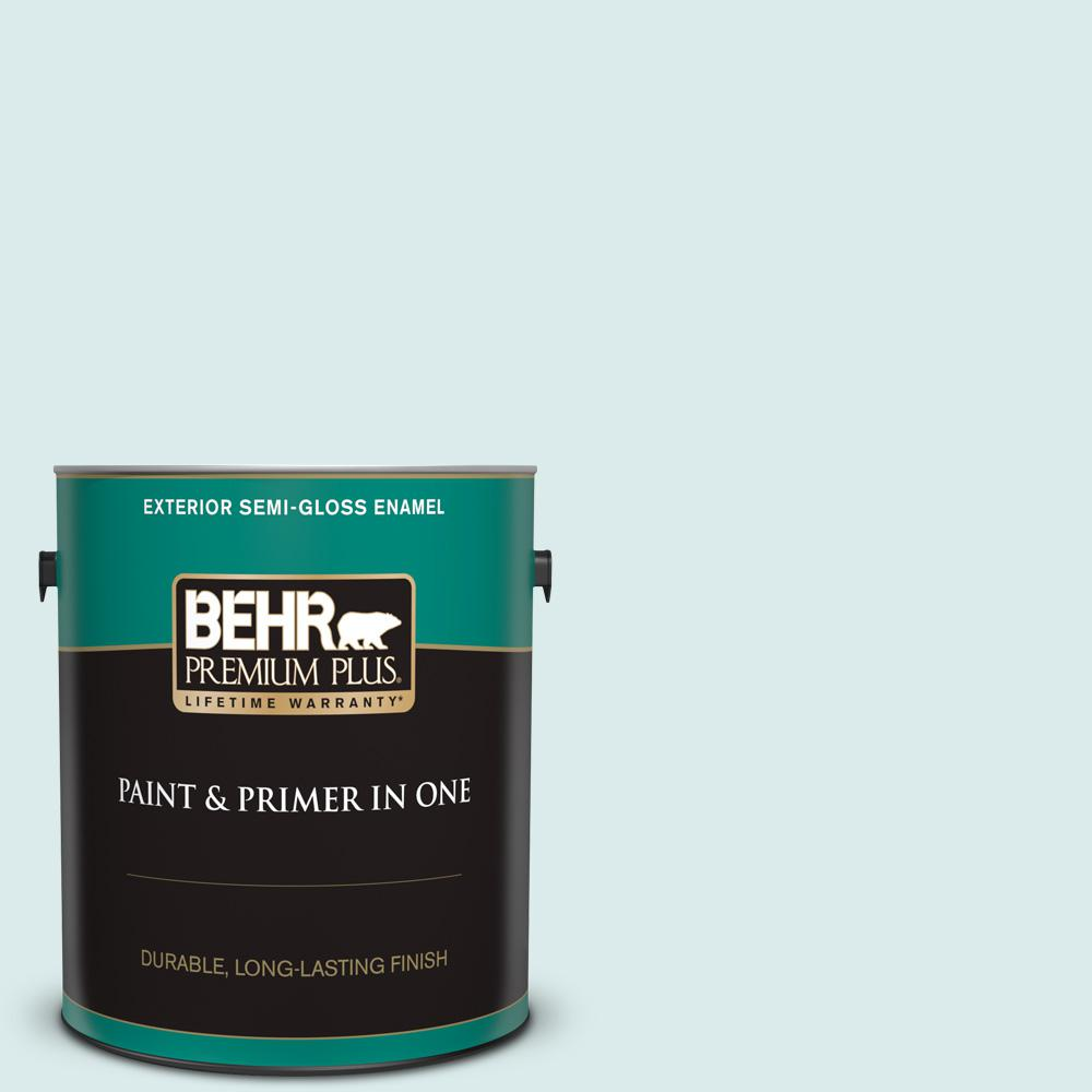 Behr Premium Plus 1 Gal 510e 1 Ice Folly Semi Gloss Enamel Exterior Paint And Primer In One 505001 The Home Depot